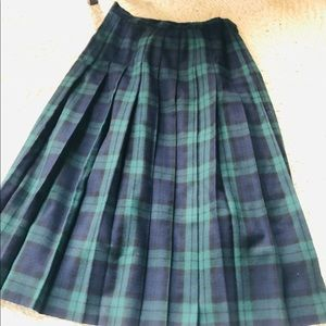 Vintage LL BEAN 100% Wool Tartan plaid skirt Sz:14